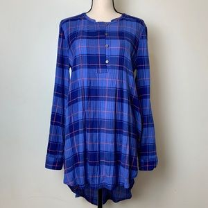 Holding Horses Halfpenny Plaid Tunic Blue High Low
